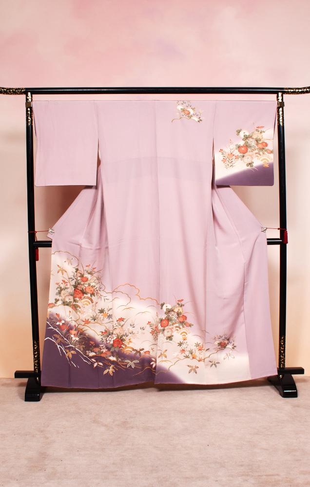 705 訪問着 薄紫 菊菖蒲