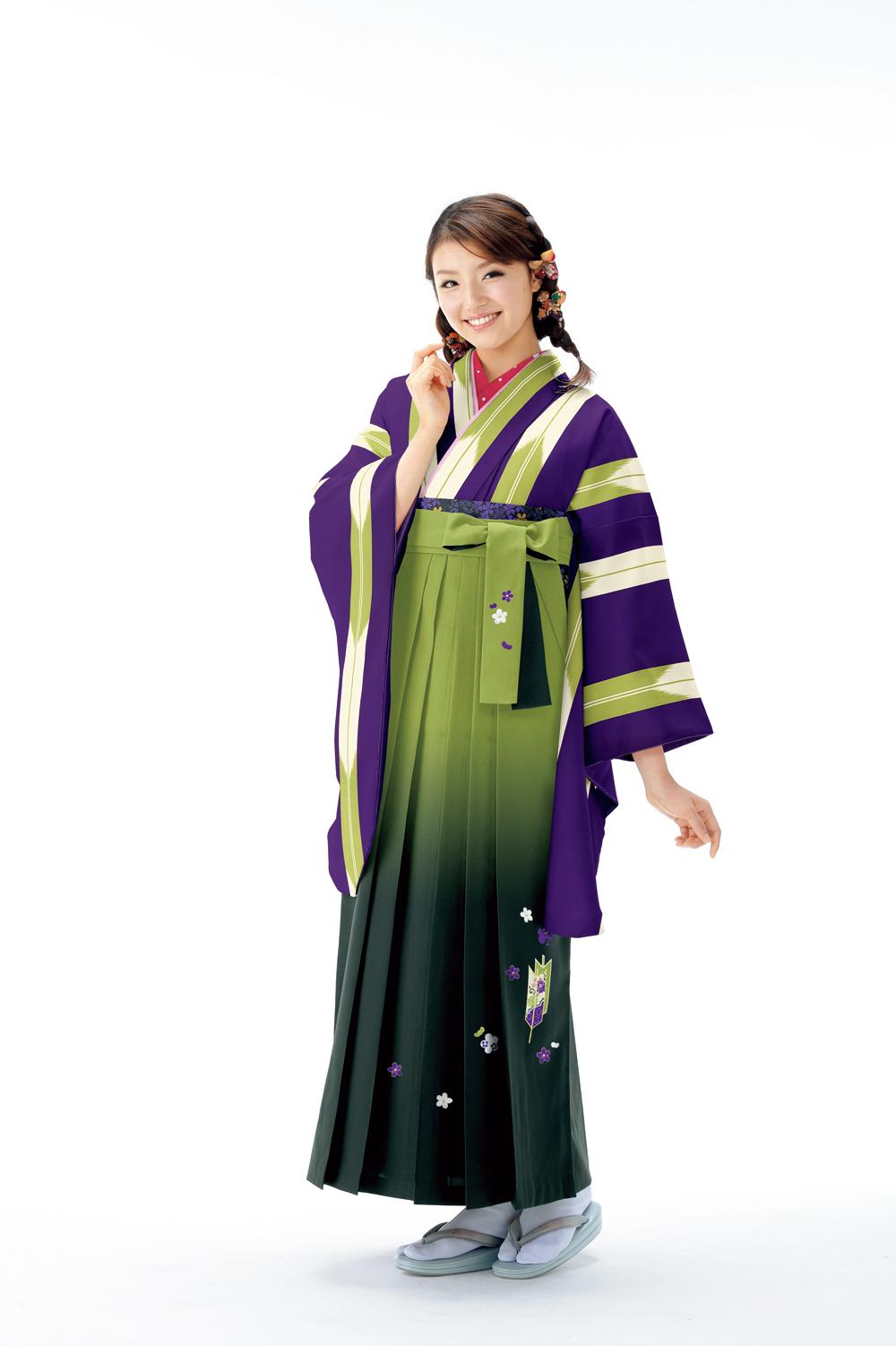 ライン矢羽根2紫×抹茶