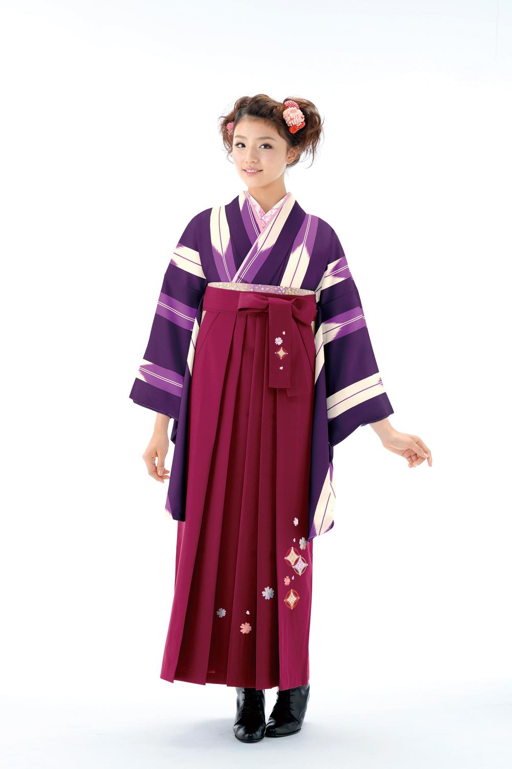 ライン矢羽根4紫×薄紫