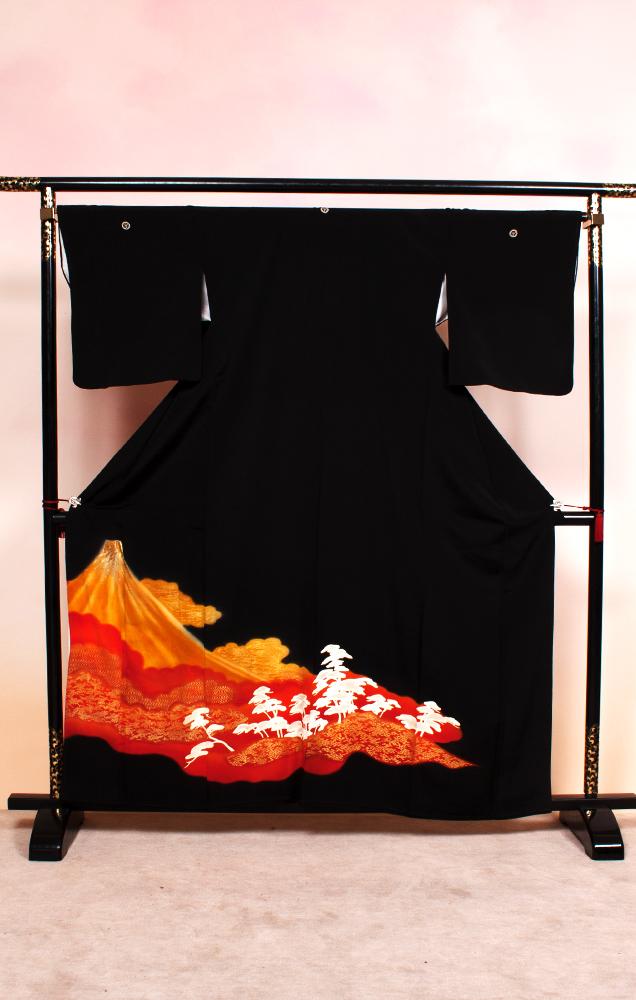 805 黒留袖 赤富士