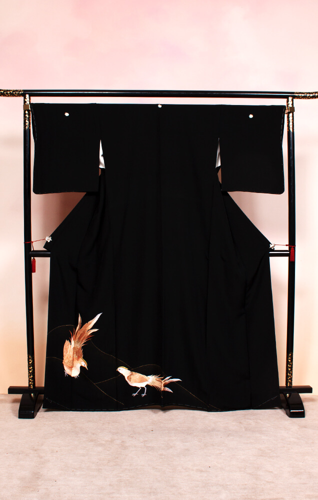 801 黒留袖 雉鳥